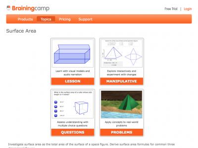 Screenshot of Surface Area