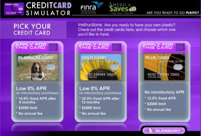 Screenshot of Credit Card Game
