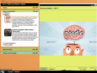 Screenshot of Exploring Algebra