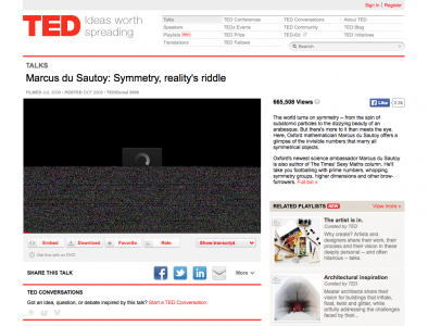 Screenshot of Marcus du Sautoy on Symmetry
