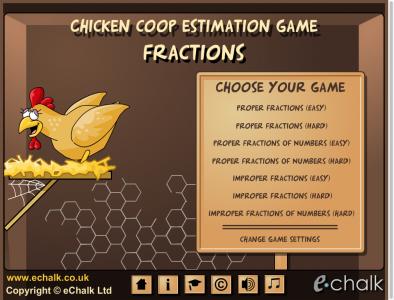 Screenshot of Chicken Coop Estimation Game - Fractions