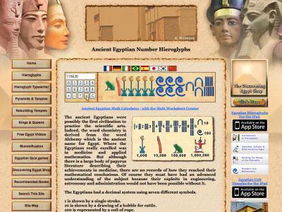 Screenshot of Egyptian mathematics and Numbers Hieroglyphs