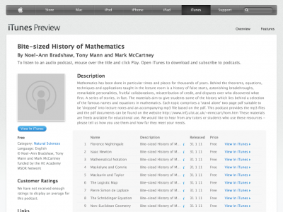 Screenshot of Bite-sized History of Mathematics