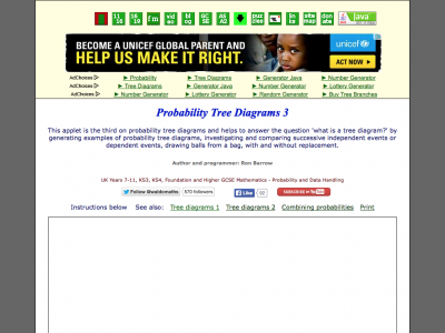 Screenshot of Waldomaths Probability 3-Tree Diagram