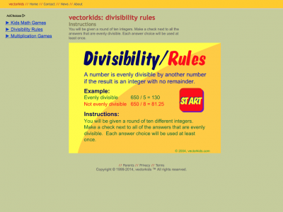 Screenshot of Divisibility Rules