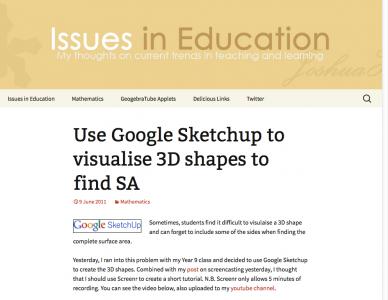 Screenshot of Use Google Sketchup to visualise 3D shapes