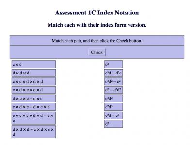 Screenshot of Index Notation/Laws Hot Potatoes Exercises