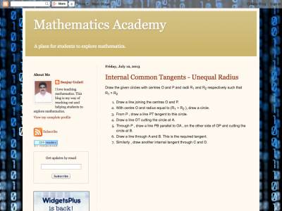 Screenshot of Mathematics Academy
