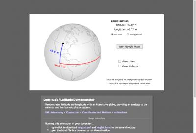 Screenshot of Latitude and Longitude