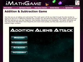 Screenshot of Addition Aliens Attack