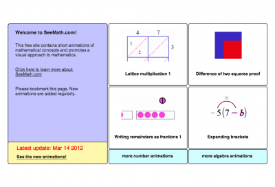 Screenshot of SeeMath mathematics animations