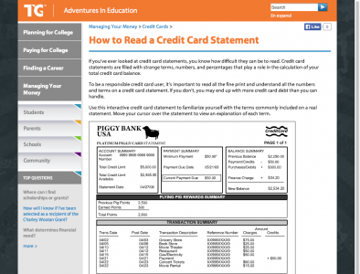 Screenshot of Reading a Credit Card Statement
