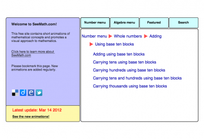 Screenshot of Addition using base ten blocks (animation)