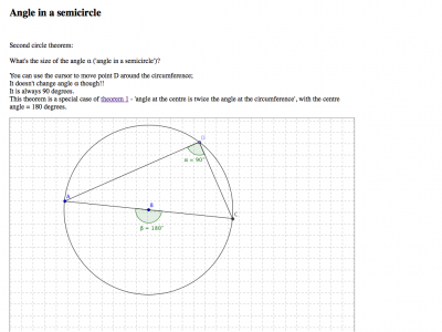 Screenshot of Angle in a semicircle