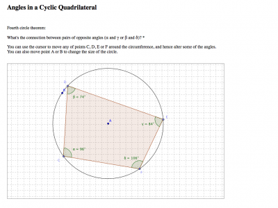 Screenshot of Angles in a Cyclic Quadrilateral