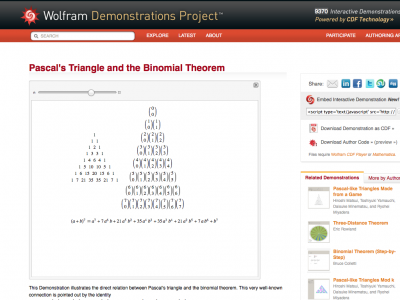 Screenshot of Pascal's Triangle and the Binomial Theorem