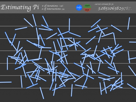 Screenshot of Buffon's Needle simulation to generate Pi