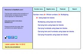 Screenshot of Multipication using base ten blocks (animations)