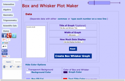 Screenshot of Box and Whisker Plot Maker