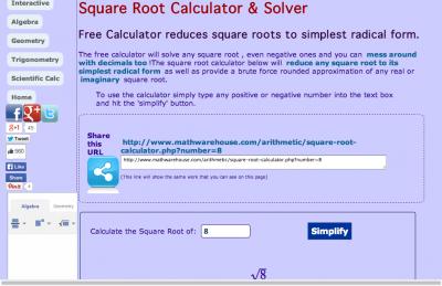 Screenshot of Square Root Calculator & Solver