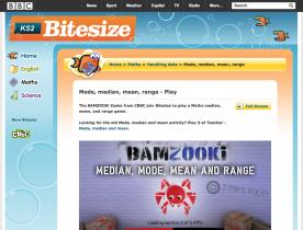 Screenshot of BAMZOOKi - Mode, median, mean, range