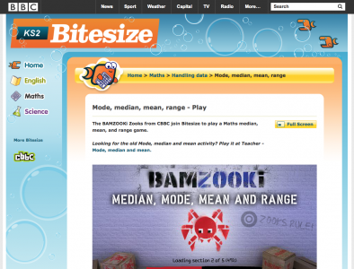 Screenshot of BAMZOOKi - Mode, median, mean, range