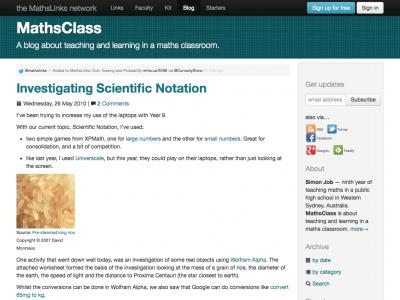 Screenshot of Investigating Scientific Notation