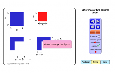 Screenshot of Animated visual proof of the difference of two squares