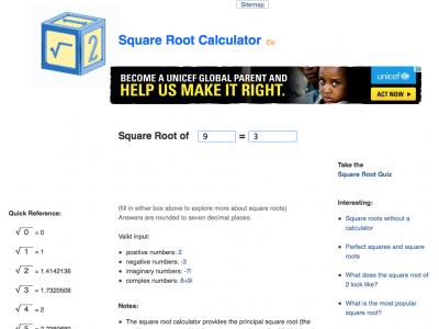 Screenshot of Square Root Calculator Plus Fun Facts