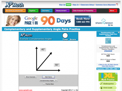 Screenshot of Complementary and Supplementary Angle Pairs Practice