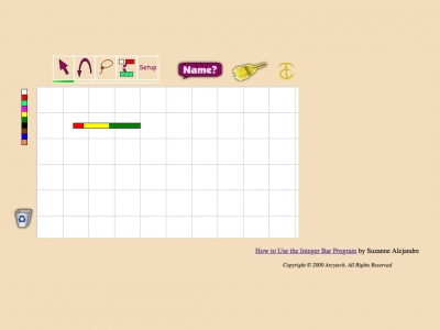 Screenshot of Integer Bars: Learning Fractions and more with On-line Manipulatives