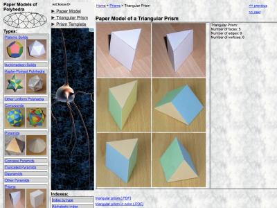 Screenshot of Paper Model of a Triangular Prism