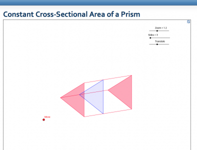 Screenshot of Constant Cross-Sectional Area of a Prism