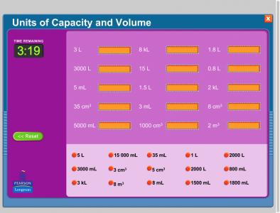 Screenshot of Units of capacity and volume