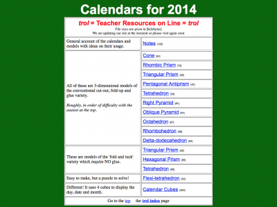 Screenshot of Calendars made out of solids