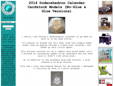 Screenshot of Dodecahedron Calendar Cardstock Models