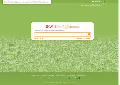 Screenshot of Wolfram Alpha