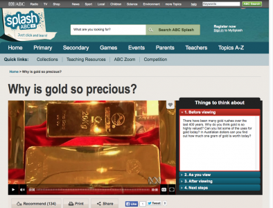 Screenshot of Calculating ratios and percentage: gold price