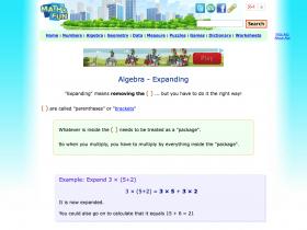 Screenshot of Algebra Expanding