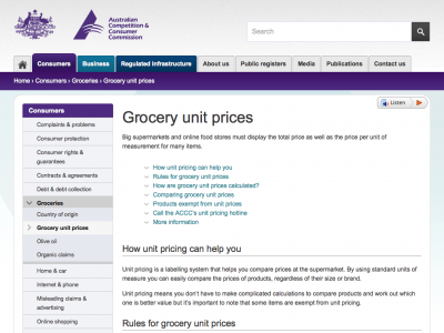 Screenshot of Unit pricing