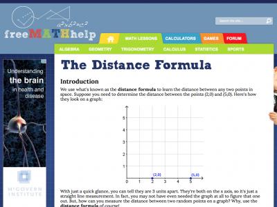 Screenshot of Distance Formula Lesson