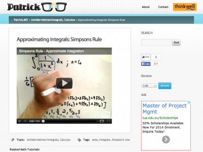 Screenshot of Approximating Integrals: Simpsons Rule