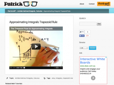 Screenshot of Approximating Integrals: Trapezoid Rule
