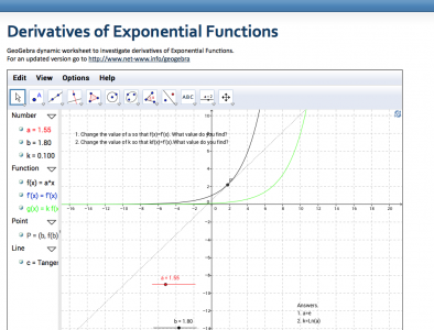 Screenshot of Derivatives of Exponential Functions