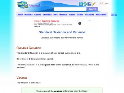 Screenshot of Standard Deviation and Variance