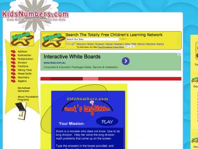 Screenshot of long division interactive practise