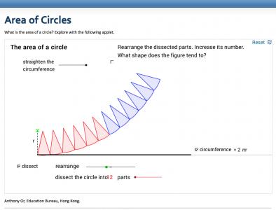 Screenshot of Area of a Circle