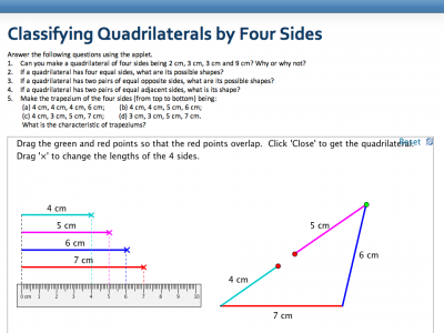 Screenshot of Classifying Quadrilaterals by Four Sides