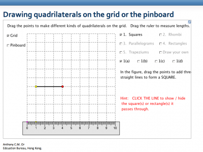 Screenshot of Drawing quadrilaterals on the grid or the pinboard