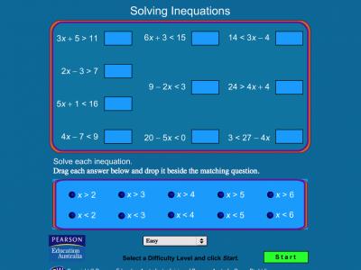 Screenshot of Solving Inequations